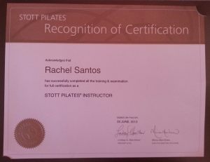 Rachel Santos Full Certification Stott Pilates Instructor Montreal