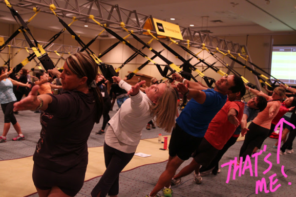 Here I am at the 2014 CanFitPro conference in a TRX workshop.  If you squint, you can tell it's me! ;)